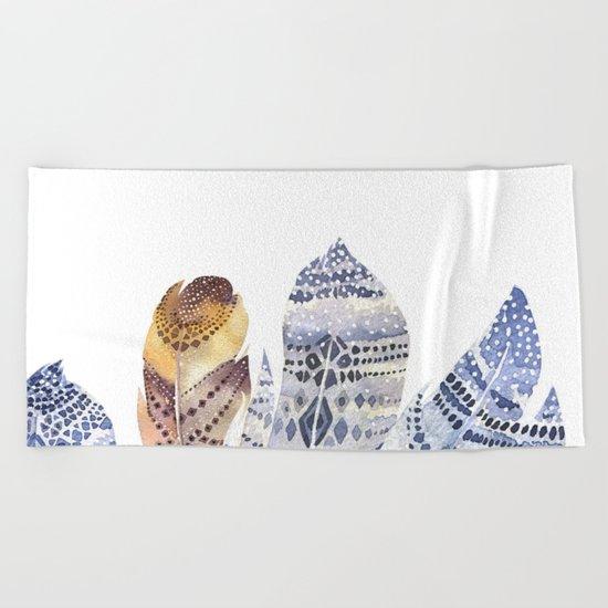 Watercolor bohemian feathers Beach Towel