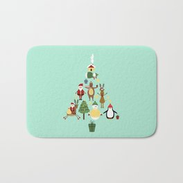 Christmas tree with reindeer, Santa Claus and bear Bath Mat