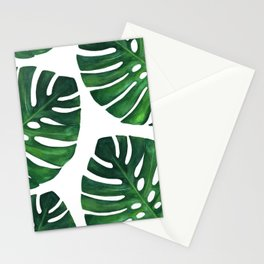 Watercolor Monstera print Stationery Cards