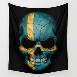 Dark Skull with Flag of Sweden Wall Tapestry