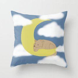A Wolf Pup on the Moon Throw Pillow
