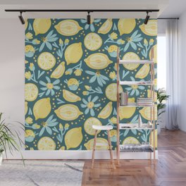 Lemon Pattern Green Wall Mural