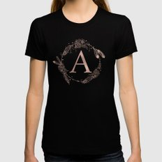 Letter A Rose Gold Pink Initial Monogram LARGE Black Womens Fitted Tee