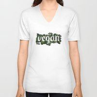 vegan V-neck T-shirts featuring Vegan by Kopie Creative