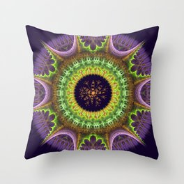 Groovy mandala with doodle flower Throw Pillow