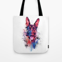 Drippy Jazzy German Shepherd Colorful Dog Art by Jai Johnson Tote Bag