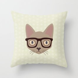 Hipster Siamese Cat Portrait Throw Pillow