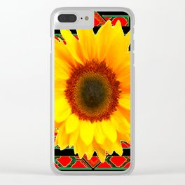 WESTERN BLACK & RED ART DECO YELLOW SUNFLOWER Clear iPhone Case