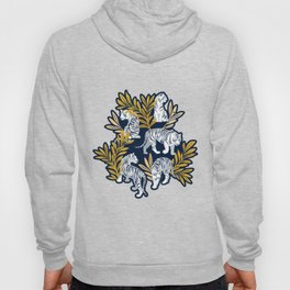 Nouveau white tigers // navy blue background yellow leaves silver lines white animals Hoody