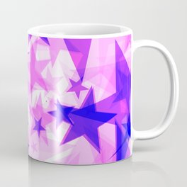 Glowing purple and pink stars on a light background in projection and with depth. Coffee Mug