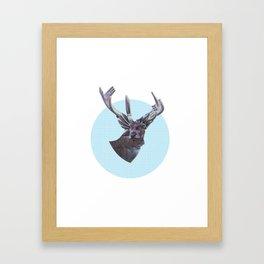 Deer in headlights Framed Art Print