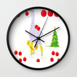 Winter is Coming Midas is Ready - Christmas Lavender Giraffe - Tree Decorating Wall Clock