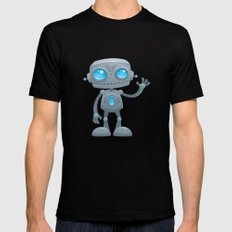 Waving Robot Black X-LARGE Mens Fitted Tee