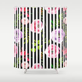 Pink lavender green watercolor floral stripes Shower Curtain