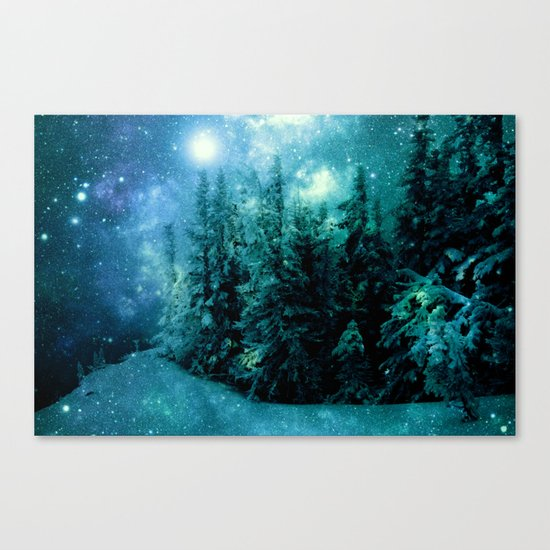 Galaxy Winter Forest Blue Teal Canvas Print