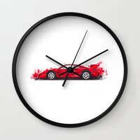 ferrari Wall Clocks featuring Ferrari F40  by Claeys Jelle Automotive Artwork