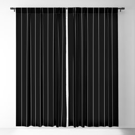 Black White Pinstripes Minimalist Blackout Curtain