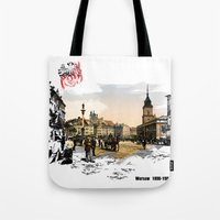 poland Tote Bags featuring Poland, Warsaw 1890-1900 by viva la revolucion