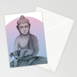 Buddha with dog1 Stationery Cards