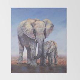Elephants Mom Baby Throw Blanket
