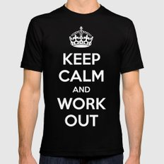 Keep Calm Workout Gym Quote Mens Fitted Tee MEDIUM Black