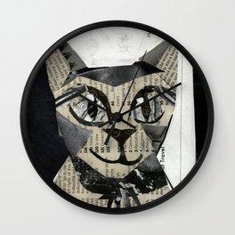 Newspaper Cat Wall Clock