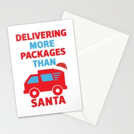 Post Office Mail Carrier Delivering More Packages Than Santa Stationery Cards