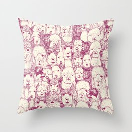 just alpacas cherry pearl Throw Pillow
