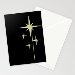 Atomic Age 1950s Retro Mid-Century Modern Starburst in Yellowed Beige on Solid Black Stationery Cards
