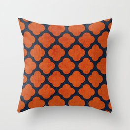 navy and orange clover Throw Pillow