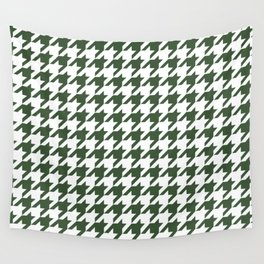 Green, Pine: Houndstooth Checkered Pattern Wall Tapestry