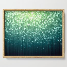 Spring Teal Green Sparkles Serving Tray