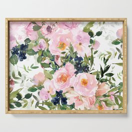 Festive, Floral Watercolor Rose Garden, Pink and White Serving Tray