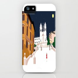 Spanish Steps in Snowy Rome iPhone Case