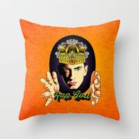 rap Throw Pillows featuring Rap God by RJ Artworks