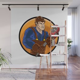 strong plumber holding wrench Wall Mural