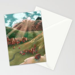 Sunrise Over The Valley Town Stationery Cards