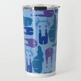 Blue Moose Pattern Travel Mug