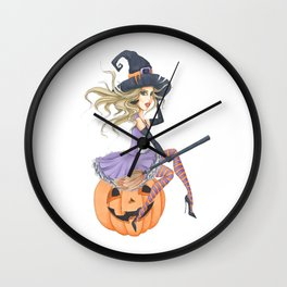 Beautiful Witch on The Pumpkin Wall Clock