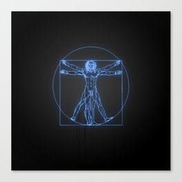 Neon Vitruvian Man Canvas Print