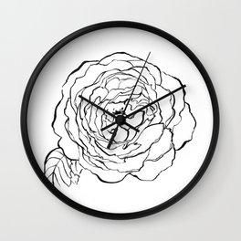 Rose Ink Drawing Wall Clock