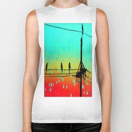 Sunset, Birds on Telephone wires Biker Tank