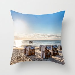 Beach chairs in the morning after sunrise Throw Pillow