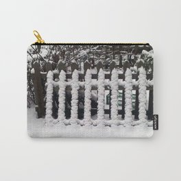 White snow picket fence  Carry-All Pouch