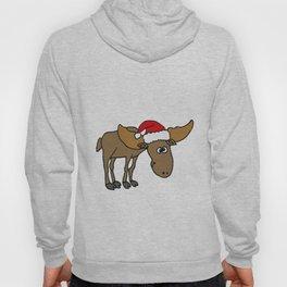 Funny Moose in Santa Hat Christmas Artwork Hoody