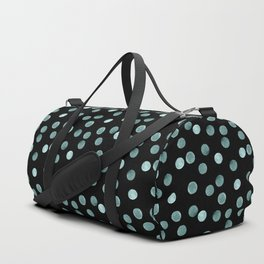 Blue polka dots on a black background . Watercolor pattern . Duffle Bag