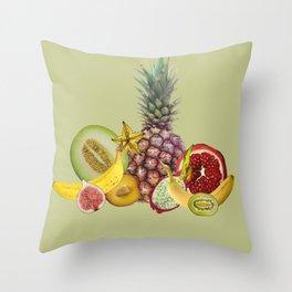 Fresh Fruits summer Selection - green Throw Pillow