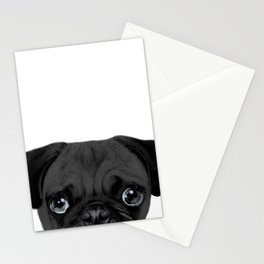 Black Pug, Original painting by miart Stationery Cards