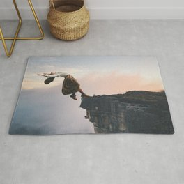 Up in the Clouds-Surreal Levitation Off a Cliff Rug
