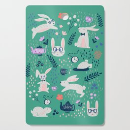 Don't Be Late Bunnies - Aqua Cutting Board